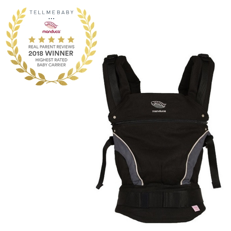 The top baby carrier 2018 is the Manduca Classic Baby Carrier in the Tell Me Baby 2018 Awards for best baby products