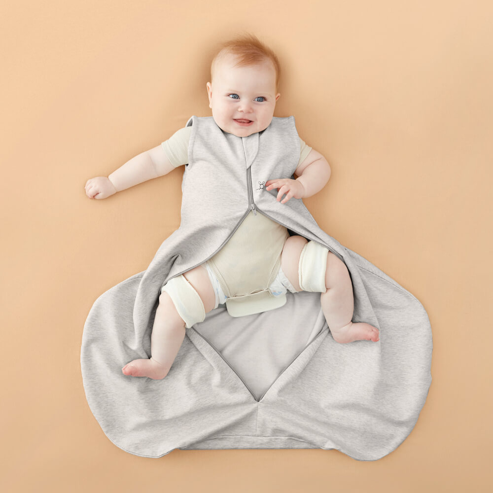 ergoPouch Hip Harness Jersey Sleeping Bag 1.0 TOG Grey Marle - Legs Out